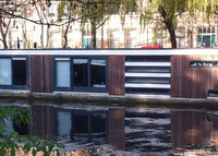Modern houseboat in beautiful downtown Amsterdam.