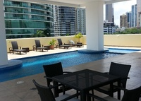 High rise condo is in downtown Panama exclusive Bella Vista district.